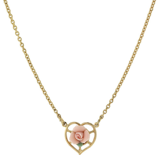 14K Gold Dipped Porcelain Rose Heart Necklace 16 In Pink