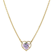 1928 Jewelry 14K Gold-Dipped Porcelain Rose Heart Necklace 16 In