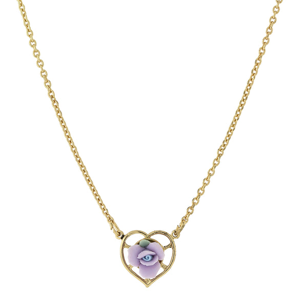 Fashion Jewelry - 14K Gold-Dipped Lavender Porcelain Rose Heart Necklace