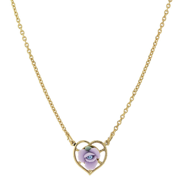 14K Gold Dipped Porcelain Rose Heart Necklace 16 In Purple