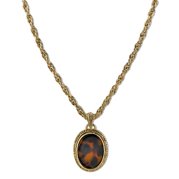 Fashion Jewelry - Gold Tone Tortoise Color Oval Pendant Necklace 16
