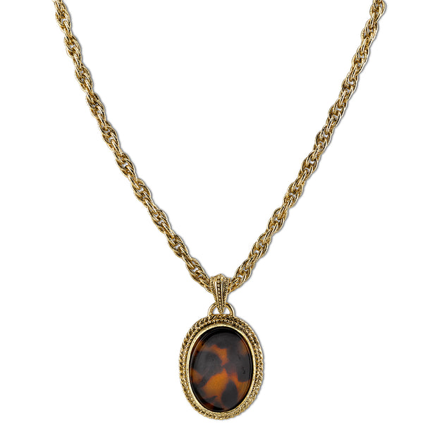 Gold-Tone Tortoise Color Oval Pendant Necklace 16 In Adj