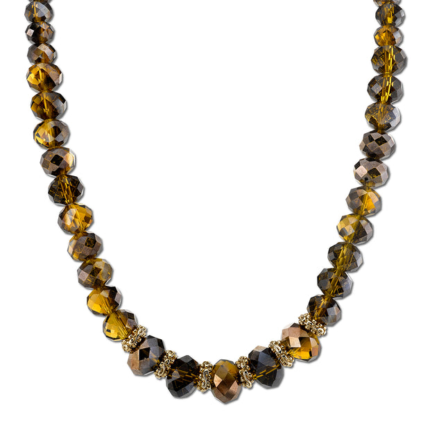 Gold-Tone Copper Topaz Color Beaded Necklace 16 In Adj