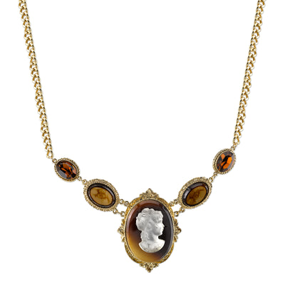 Gold-Tone Tortoise Brown Statement Cameo Necklace 16 In Adj