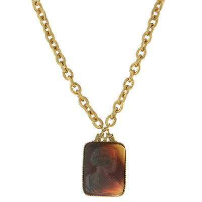 Tortoise Cameo Glass Square Necklace 18 - 21 Inch Adjustable