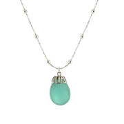 Frosted Glass Egg Pendant Necklace 16   19 Inch Adjustable Green