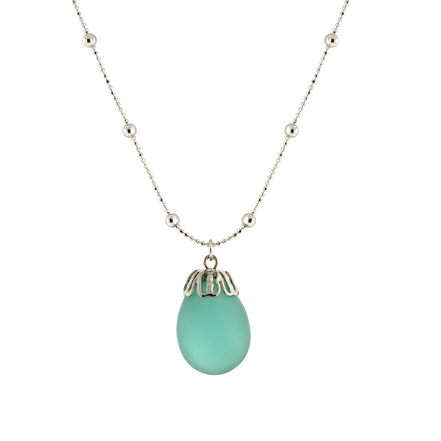 Frosted Glass Egg Pendant Necklace 16 - 19 Inch Adjustable Green