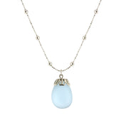Frosted Glass Egg Pendant Necklace 16   19 Inch Adjustable Light Blue