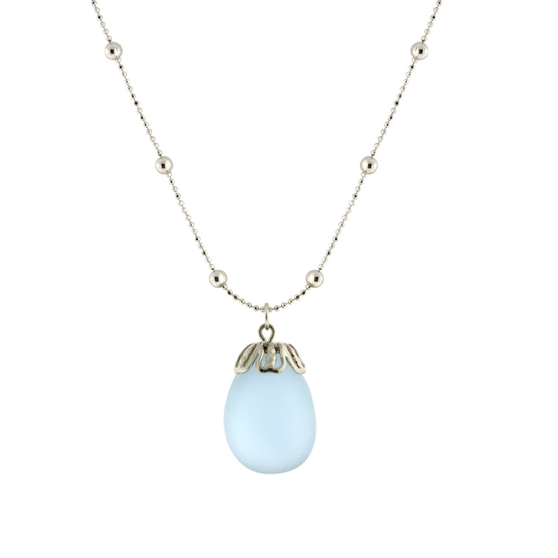 Frosted Glass Egg Pendant Necklace 16 - 19 Inch Adjustable Light Blue