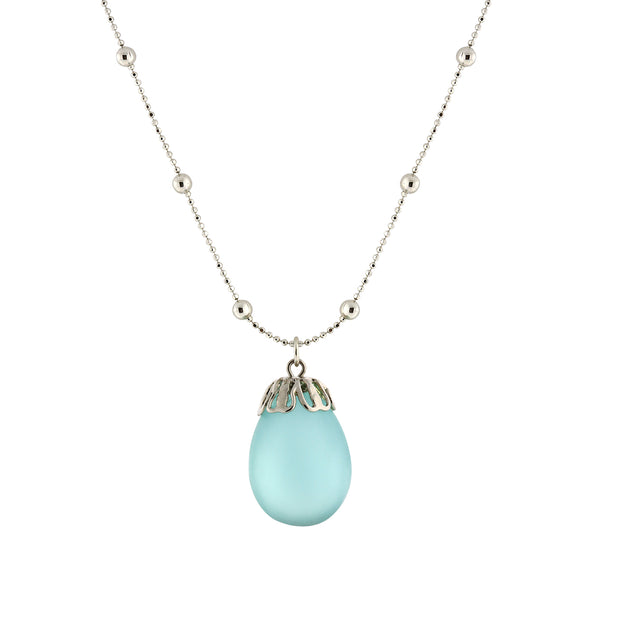 Frosted Glass Egg Pendant Necklace 16 - 19 Inch Adjustable Blue