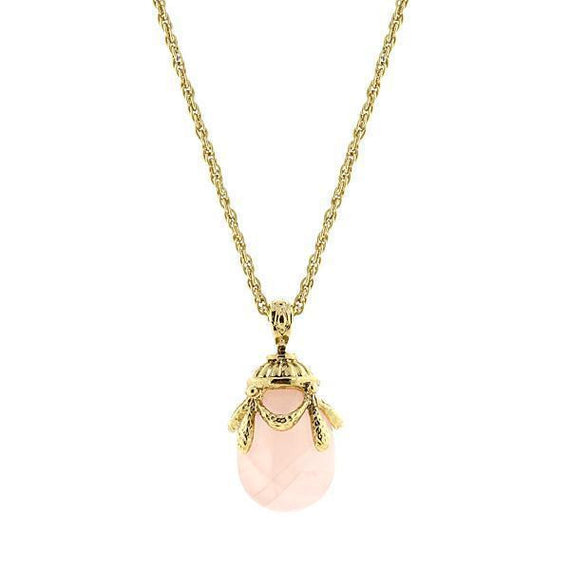 14k Gold Dipped Semi Precious Rose Quartz Egg Pendant Necklace 30in