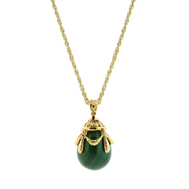 1928 Jewelry 14K Gold-Dipped Gemstone Egg Pendant Necklace 30 Inch