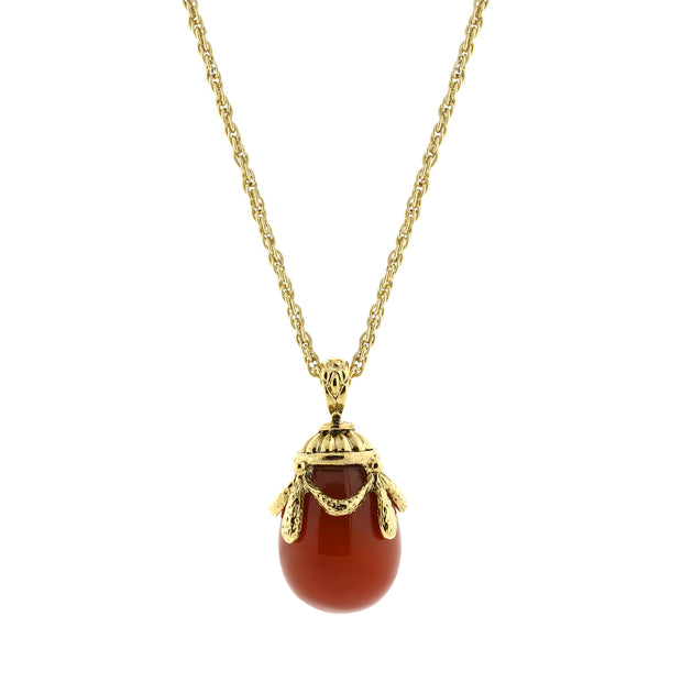 1928 Jewelry 14K Gold-Dipped Gemstone Egg Pendant Necklace 30