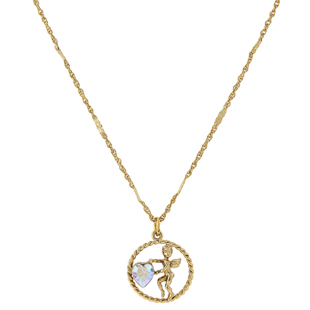 Gold Tone Suspended Cherub Angel And Ab Crystal Heart Necklace 16   19 Inch Adjustable