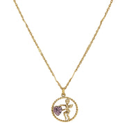 Gold Tone Suspended Cherub Angel And Crystal Heart Necklace Light Purple