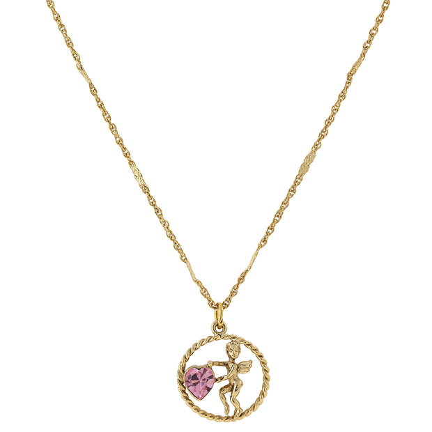 Gold Tone Suspended Cherub Angel And Crystal Heart Necklace Pink