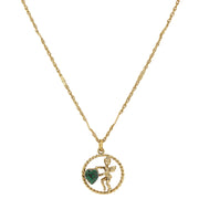 Gold Tone Suspended Cherub Angel and Crystal Heart Necklace DARK GREEN
