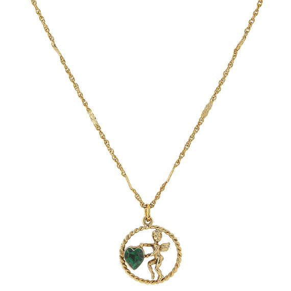 Fashion Jewelry - Gold-Tone Green Crystal Angel Heart Pendant Necklace