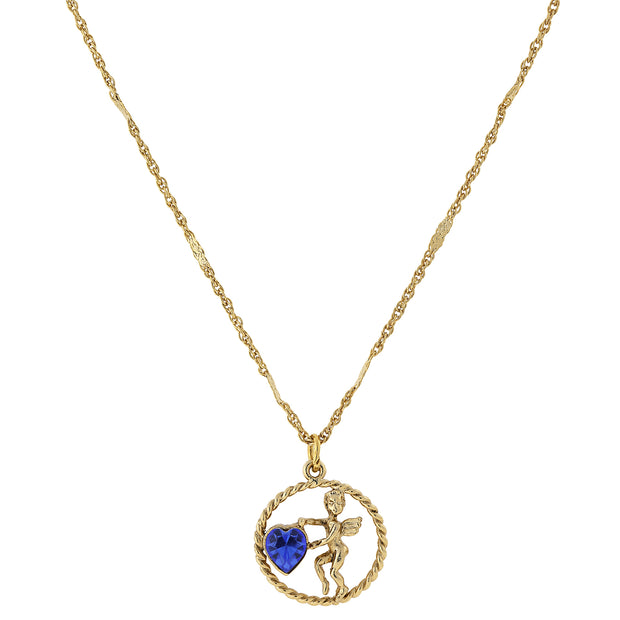 Gold Tone Suspended Cherub Angel And Crystal Heart Necklace Blue