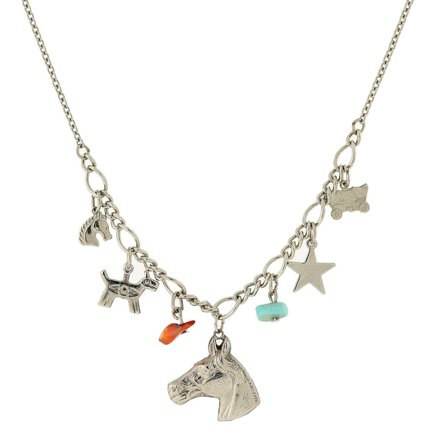Silver-Tone Multi-Charm Collar Necklace 16 - 19 Inch Adjustable