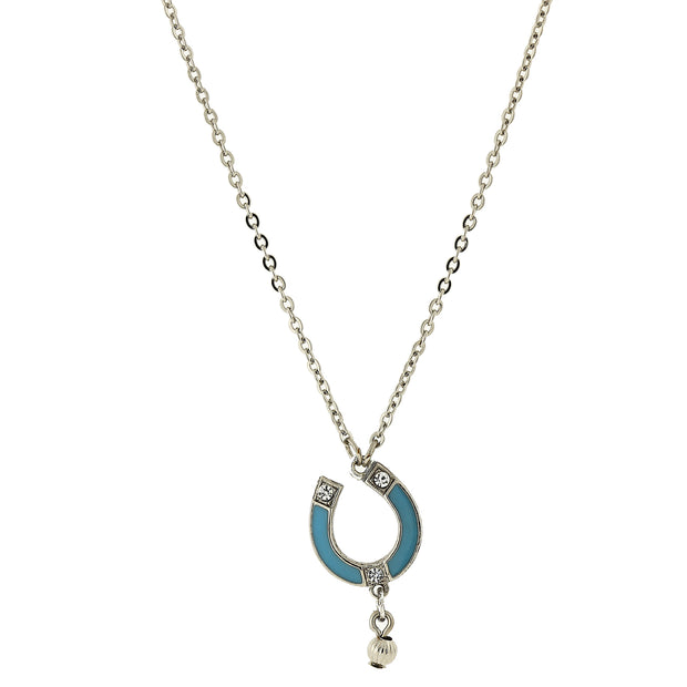 Silver-Tone Turquoise Color Enamel With Crystal Accent Horseshoe Necklace 16 - 19 Inch Adjustable