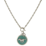 Silver Tone Turquoise Color Enamel Horse Pendant Toggle Necklace 18 Inch