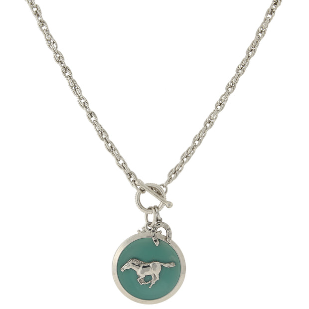 Silver-Tone Turquoise Color Enamel Horse Pendant Toggle Necklace 18 In