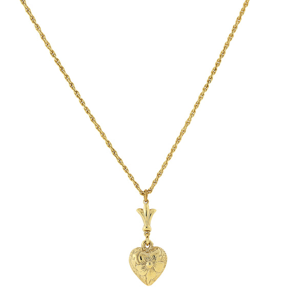 14K Gold Dipped Textured Heart Necklace 15 Adj.