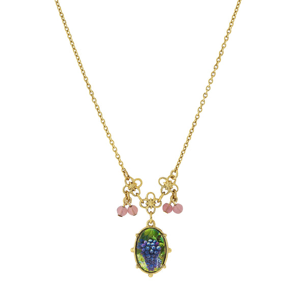 Fashion Jewelry - 14K Gold Dipped Petite Purple Grapes Decal Pendant with Beads Necklace 16