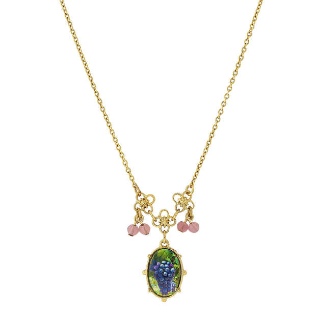 14K Gold-Dipped Petite Purple Grapes Decal Pendant With Beads Necklace 16 - 19 Inch Adjustable