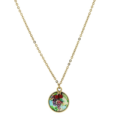 14K Gold-Dipped Round Grapes Decal Pendant Necklace 16 In Adj
