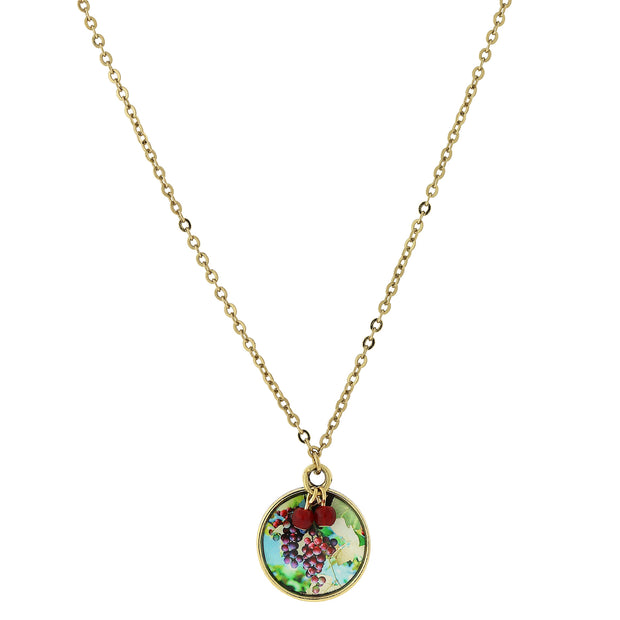 14K Gold Dipped Round Grapes Decal Pendant Necklace 16   19 Inch Adjustable