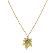 14K Gold-Dipped Grape Leaf Necklace With Pink And Green Bead Accents 16 - 19 Inch Adjustable