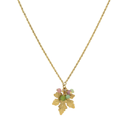 14K Gold-Dipped Grape Leaf Necklace with Pink and Green Bead Accents 16 In Adj