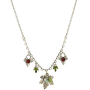 Silver-Tone Green And Purple Accent Grape Leaf Drop Necklace 16 - 19 Inch Adjustable