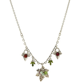 "1928 Jewelry: 1928 Jewelry - Silver-Tone Green and Purple Accent Grape Leaf Drop Necklace 16""Adj."