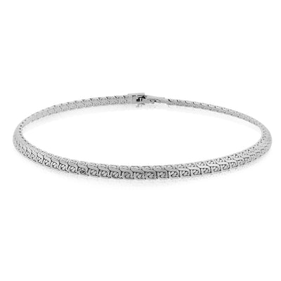 Silver-Tone Flat Fancy Foxtail Chain Necklace 15 In