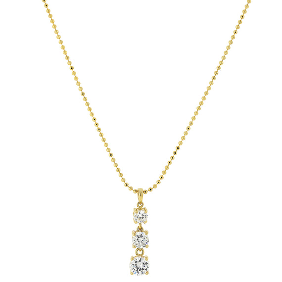 Fashion Jewelry - 14K Gold Dipped Cubic Zirconia 3 Stone Drop Necklace 18