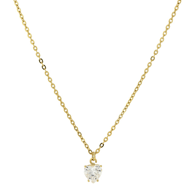 Cubic Zirconia Heart Necklace 16   19 Inch Adjustable Gold