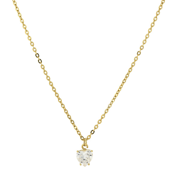 Fashion Jewelry - 14K Gold-Dipped Cubic Zirconia Solitaire Heart Necklace 16