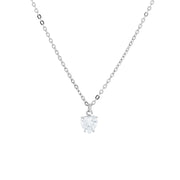 Cubic Zirconia Heart Necklace 16   19 Inch Adjustable