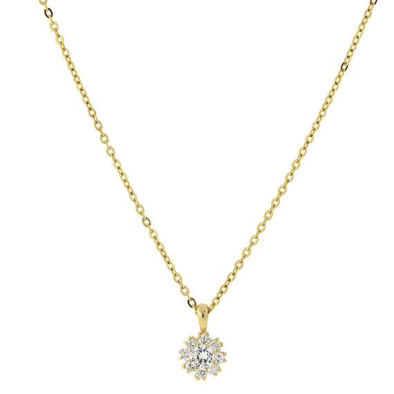 Fashion Jewelry - 14K Gold-Dipped Cubic Zirconia Flower Setting Necklace 16