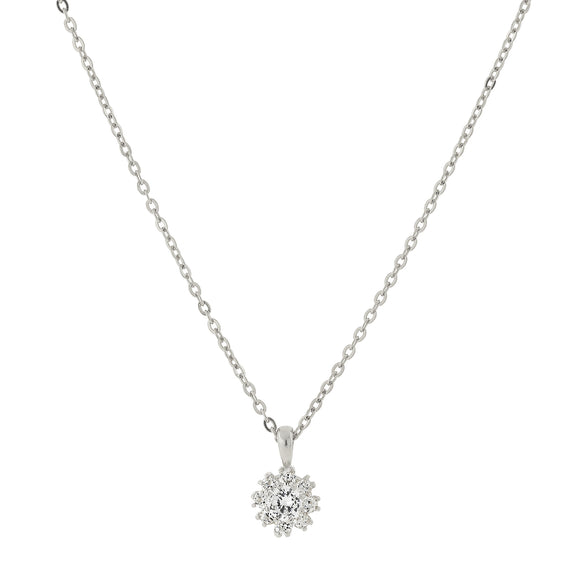 Silver Tone Cubic Zirconia Flower Setting Necklace 16