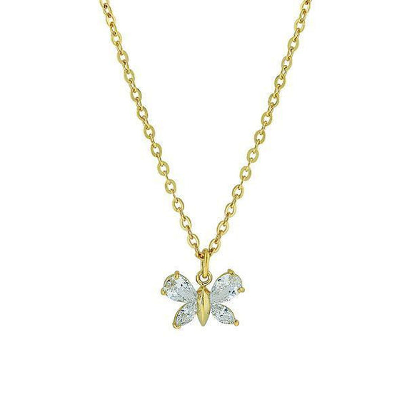 Fashion Jewelry - 14K Gold-Dipped Cubic Zirconia Butterfly Necklace 16