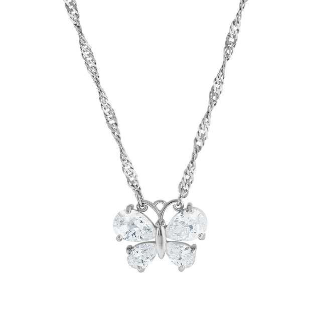 Cubic Zirconia Butterfly Necklace 16   19 Inch Adjustable