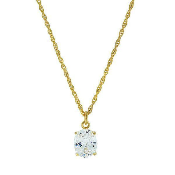 14K Gold-Dipped Cubic Zirconia Oval Setting Necklace 16 Adj.