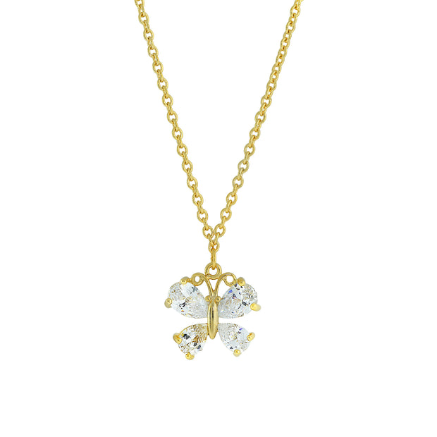 Cubic Zirconia Butterfly Pendant Necklace 16   19 Inch Adjustable Gold