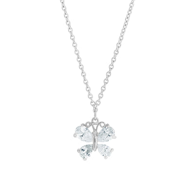 Cubic Zirconia Butterfly Pendant Necklace 16   19 Inch Adjustable
