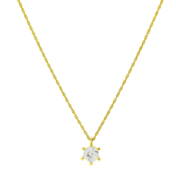 Fashion Jewelry - 14K Gold-Tone Round Setting Cubic Zirconia Necklace 16