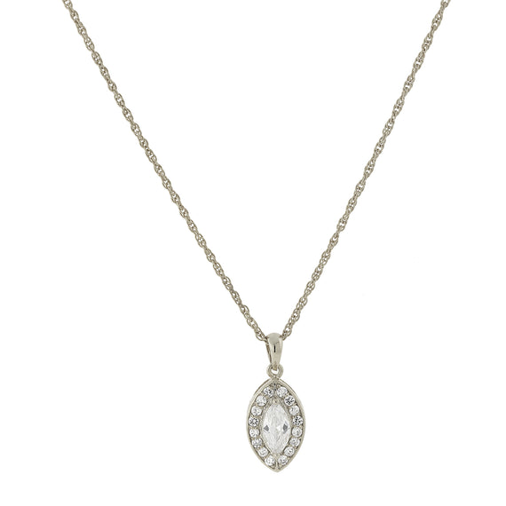 1928 Jewelry: 1928 Jewelry - Silver-Tone Marquise-Shaped Cubic Zirconia Pendant Necklace 16